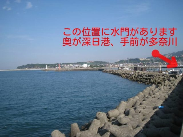 深日港の全景と多奈川テトラ帯の一部