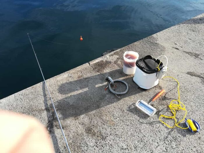 エサのアジ釣り開始
