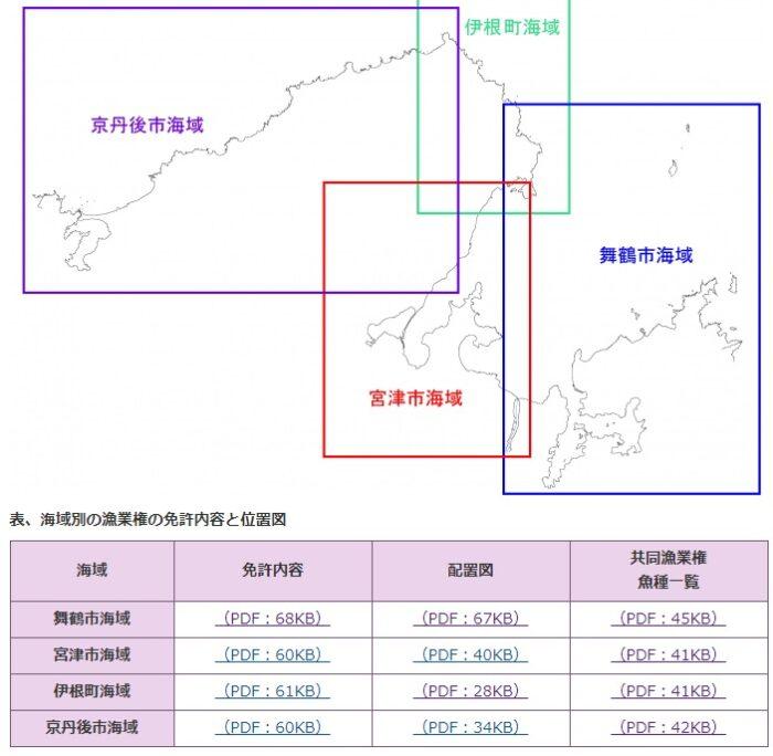 京都府沿岸の漁業権設定区域