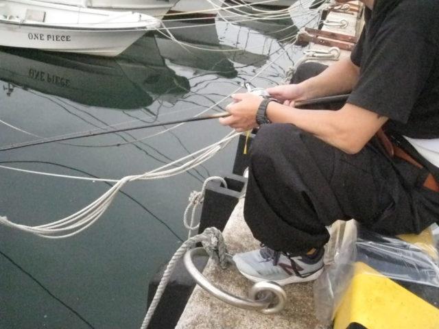 波止際のカワハギ釣りの様子