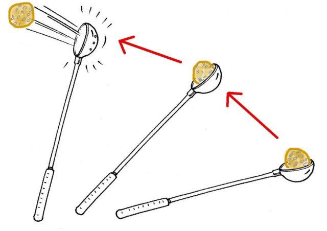 杓を使ったヌカダンゴをキャスティング