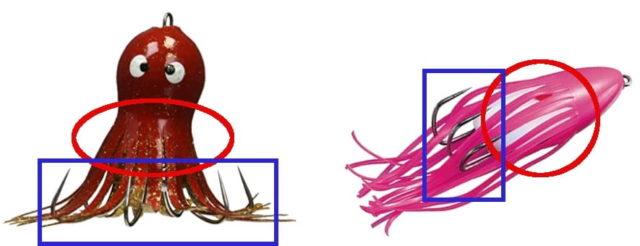 (左)通常のタコジグ/(右)舟型のタコジグ