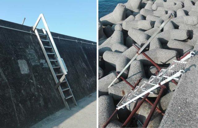 堤防には随所に階段有り