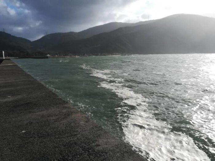 漁港波止の外向きはうねりと濁りで厳しい
